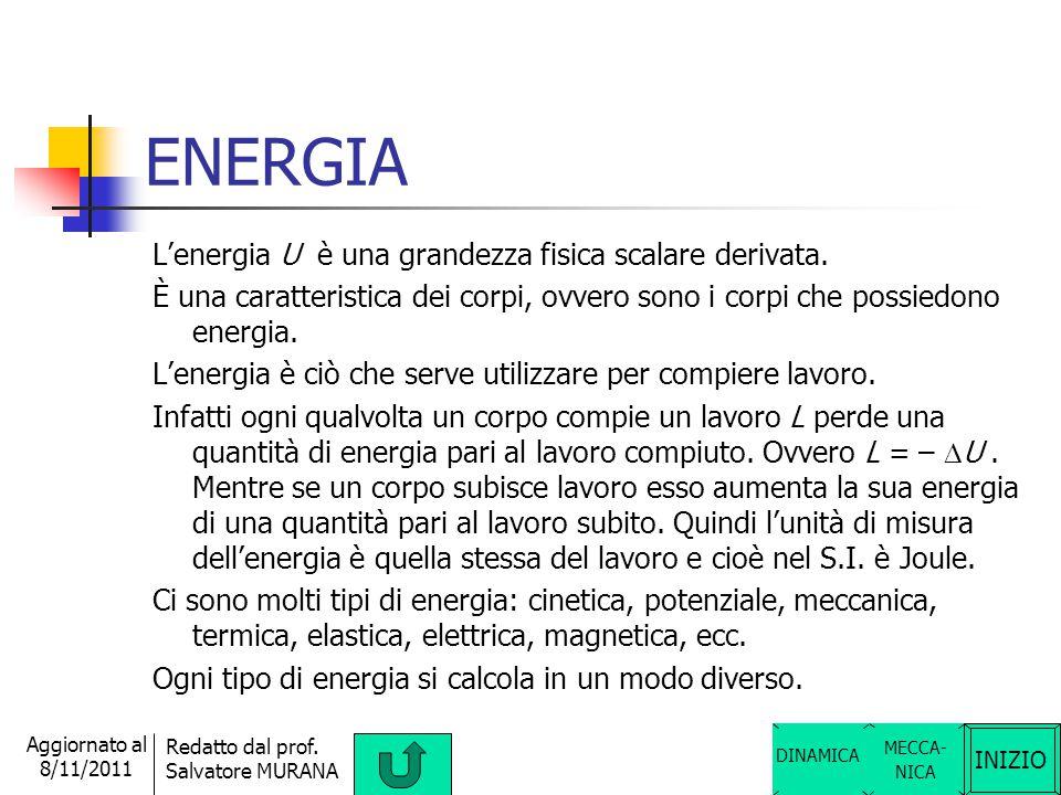 INIZIO Redatto dal prof. Salvatore MURANA Aggiornato al 8/11/2011 LAVORO Il lavoro è una grandezza fisica derivata, scalare il cui simbolo è L. È un'a