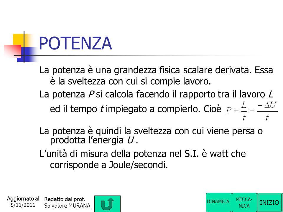 INIZIO Redatto dal prof. Salvatore MURANA Aggiornato al 8/11/2011 ENERGIA L'energia U è una grandezza fisica scalare derivata. È una caratteristica de