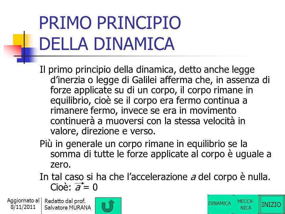INIZIO Redatto dal prof. Salvatore MURANA Aggiornato al 8/11/2011 DINAMICA DEI SOLIDI Nella dinamica dei solidi si studiano le leggi della dinamica. O