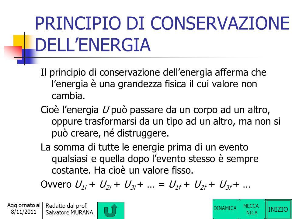 INIZIO Redatto dal prof. Salvatore MURANA Aggiornato al 8/11/2011 TERZO PRINCIPIO DELLA DINAMICA Il terzo principio della dinamica detto anche princip