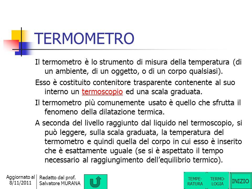 INIZIO Redatto dal prof. Salvatore MURANA Aggiornato al 8/11/2011 Definizione di TEMPERATURA La temperatura è una grandezza fisica scalare fondamental