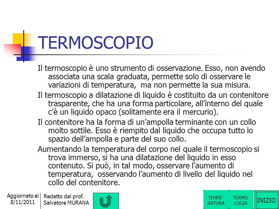 INIZIO Redatto dal prof. Salvatore MURANA Aggiornato al 8/11/2011 TERMOMETRO Il termometro è lo strumento di misura della temperatura (di un ambiente,