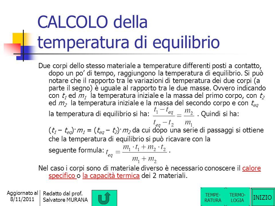 INIZIO Redatto dal prof. Salvatore MURANA Aggiornato al 8/11/2011 Temperatura di EQUILIBRIO Se si mette a contatto un corpo più caldo (cioè a temperat