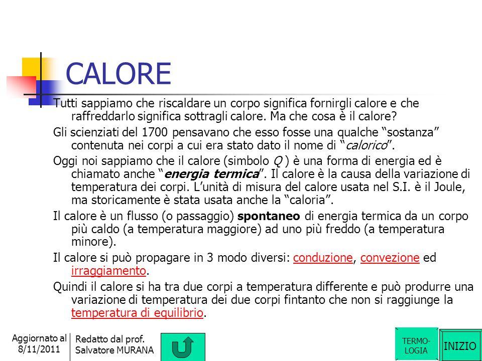 INIZIO Redatto dal prof. Salvatore MURANA Aggiornato al 8/11/2011 CALCOLO della temperatura di equilibrio Due corpi dello stesso materiale a temperatu