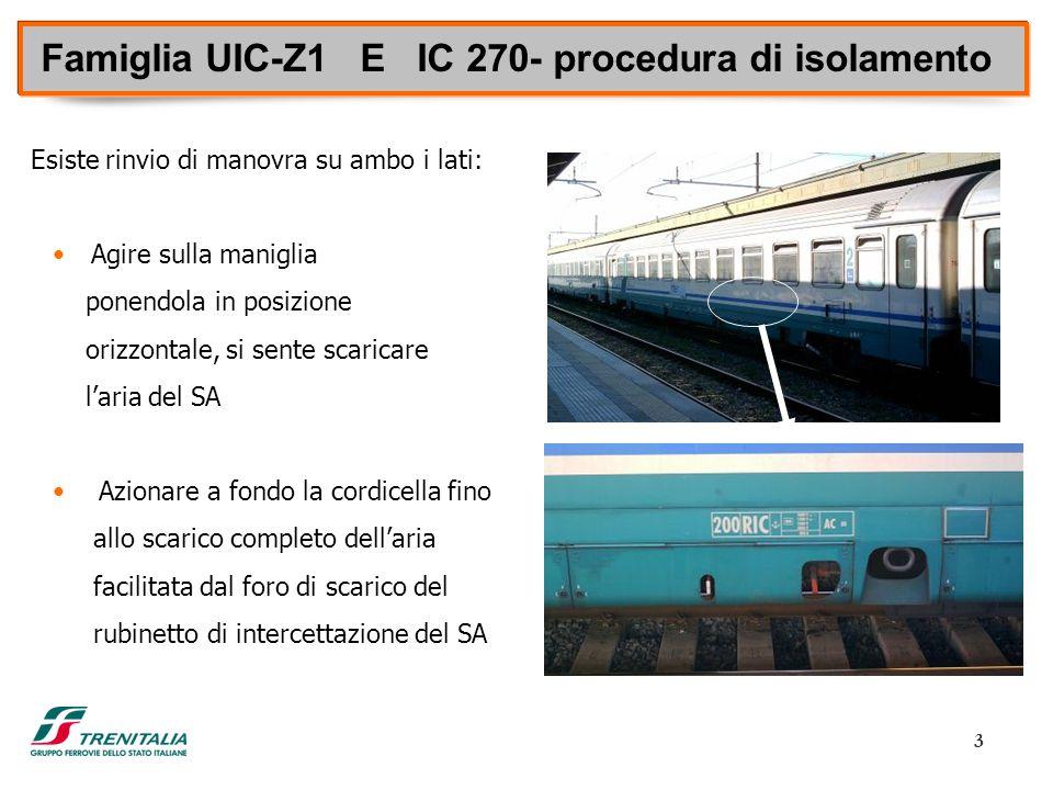 3 Famiglia UIC-Z1 E IC 270- procedura di isolamento Esiste rinvio di manovra su ambo i lati: Agire sulla maniglia ponendola in posizione orizzontale,