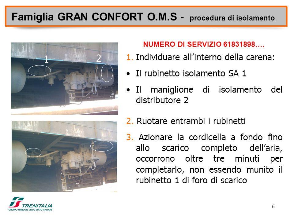 6 Famiglia GRAN CONFORT O.M.S - procedura di isolamento. 1.Individuare all'interno della carena: Il rubinetto isolamento SA 1 Il maniglione di isolame