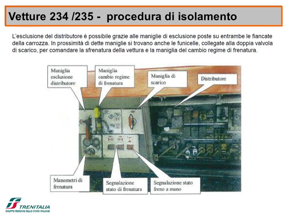 8 VETTURE 235/234 Vetture 234 /235 - procedura di isolamento 1) AGIRE SULLA MANIGLIA ROSSA PORTANDOLA IN ORIZZONTALE 2) SUCCESSIVAMENTE TIRARE A FONDO LA MANIGLIA DI SCARICO (CORDICELLA) FINO ALLO SVUOTAMENTO DELLE CAPACITA' E DEI C.F.