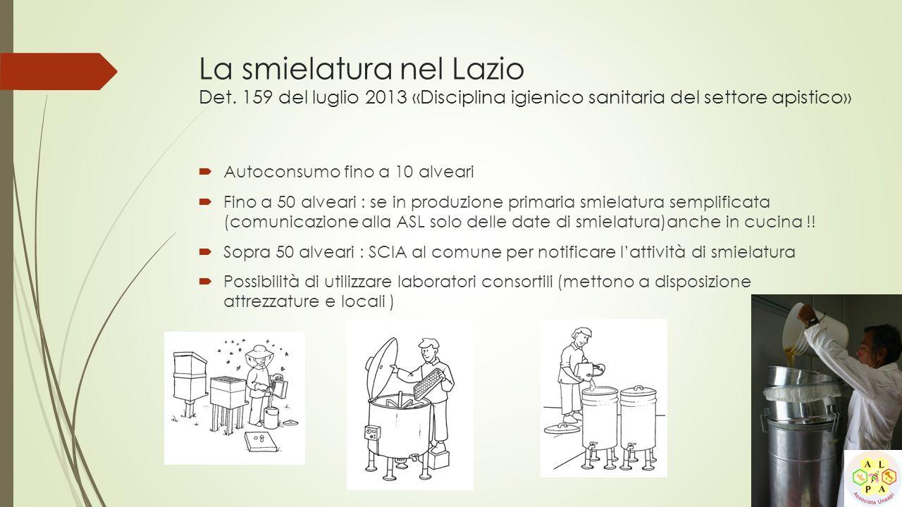 La smielatura nel Lazio Det. 159 del luglio 2013 «Disciplina igienico sanitaria del settore apistico»  Autoconsumo fino a 10 alveari  Fino a 50 alve