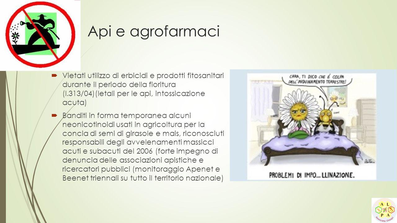 Api e agrofarmaci  Vietati utilizzo di erbicidi e prodotti fitosanitari durante il periodo della fioritura (l.313/04)(letali per le api, intossicazio