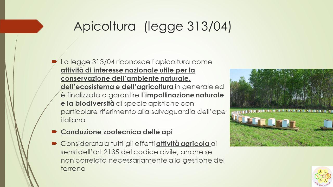 Apicoltura (legge 313/04)  La legge 313/04 riconosce l'apicoltura come attività di interesse nazionale utile per la conservazione dell'ambiente natur