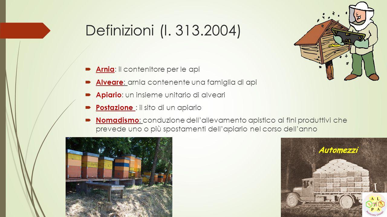 Definizioni (l. 313.2004)  Arnia : il contenitore per le api  Alveare : arnia contenente una famiglia di api  Apiario : un insieme unitario di alve
