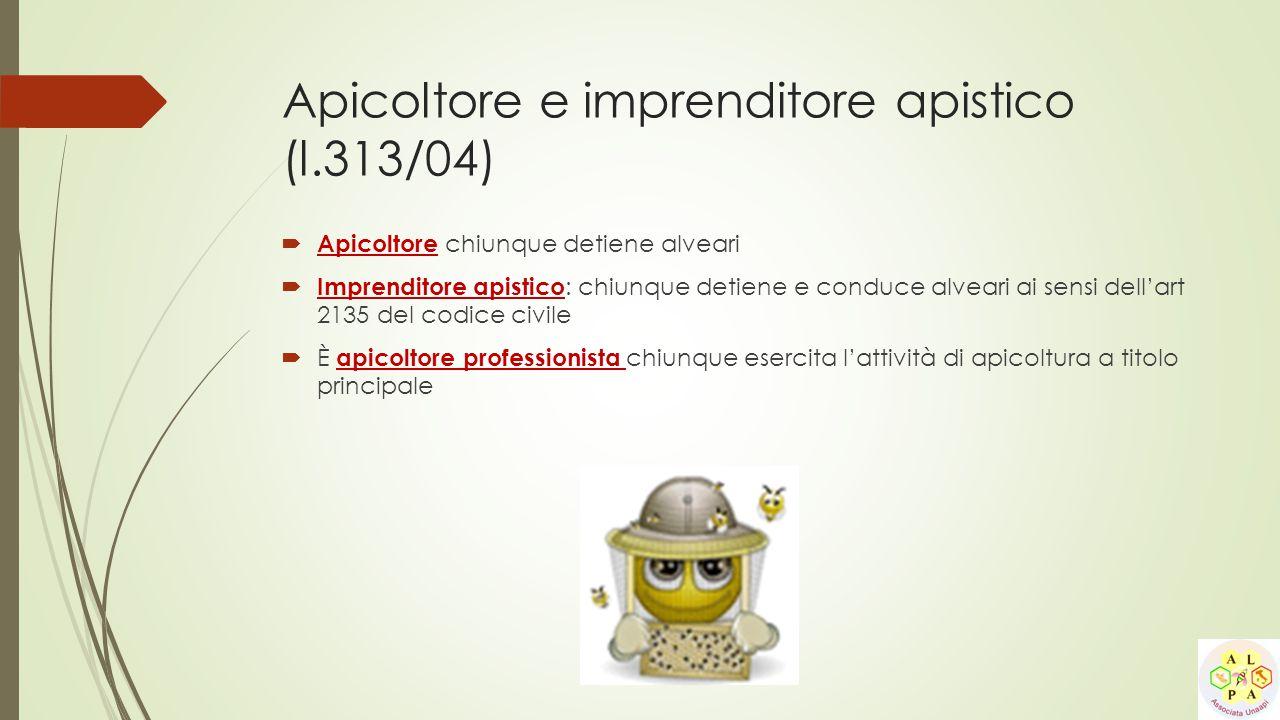 Apicoltore e imprenditore apistico (l.313/04)  Apicoltore chiunque detiene alveari  Imprenditore apistico : chiunque detiene e conduce alveari ai se
