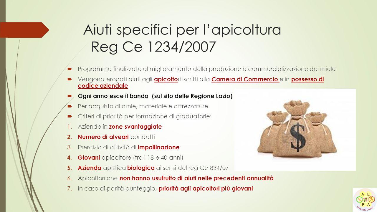 Aiuti specifici per l'apicoltura Reg Ce 1234/2007  Programma finalizzato al miglioramento della produzione e commercializzazione del miele  Vengono