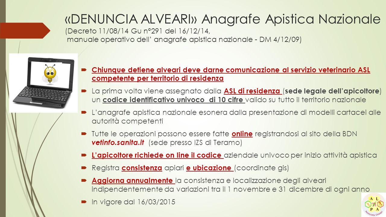 «DENUNCIA ALVEARI» Anagrafe Apistica Nazionale (Decreto 11/08/14 Gu n°291 del 16/12/14, manuale operativo dell' anagrafe apistica nazionale - DM 4/12/
