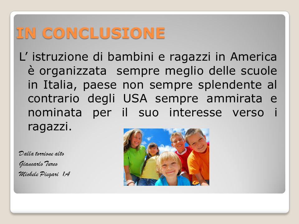 IN CONCLUSIONE L' istruzione di bambini e ragazzi in America è organizzata sempre meglio delle scuole in Italia, paese non sempre splendente al contra