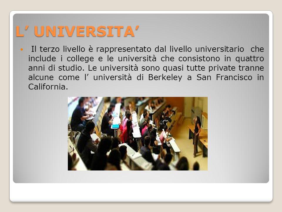L' UNIVERSITA' Il terzo livello è rappresentato dal livello universitario che include i college e le università che consistono in quattro anni di stud