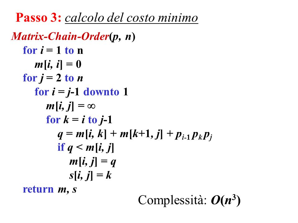 Matrix-Chain-Order(p, n) for i = 1 to n m[i, i] = 0 for j = 2 to n for i = j-1 downto 1 m[i, j] =  for k = i to j-1 q = m[i, k] + m[k+1, j] + p i-1 p k p j if q < m[i, j] m[i, j] = q s[i, j] = k return m, s Passo 3: calcolo del costo minimo Complessità: O(n 3 )