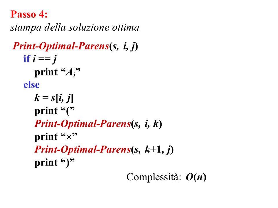 "Print-Optimal-Parens(s, i, j) if i == j print ""A i "" else k = s[i, j] print ""("" Print-Optimal-Parens(s, i, k) print ""  "" Print-Optimal-Parens(s, k+1,"