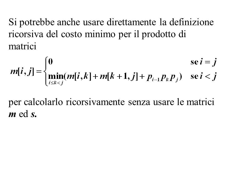 Si potrebbe anche usare direttamente la definizione ricorsiva del costo minimo per il prodotto di matrici per calcolarlo ricorsivamente senza usare le
