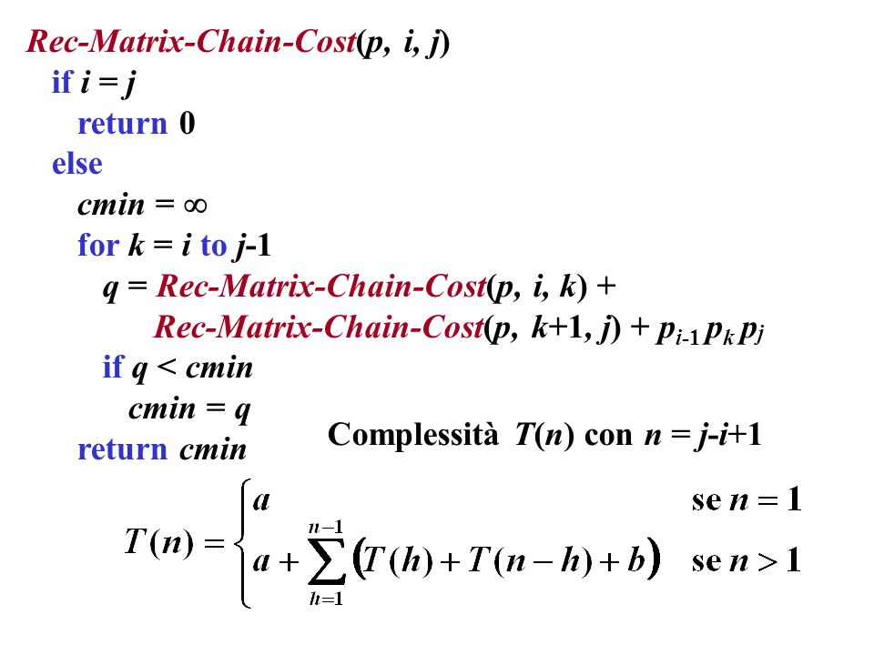Rec-Matrix-Chain-Cost(p, i, j) if i = j return 0 else cmin =  for k = i to j-1 q = Rec-Matrix-Chain-Cost(p, i, k) + Rec-Matrix-Chain-Cost(p, k+1, j) + p i-1 p k p j if q < cmin cmin = q return cmin Complessità T(n) con n = j-i+1