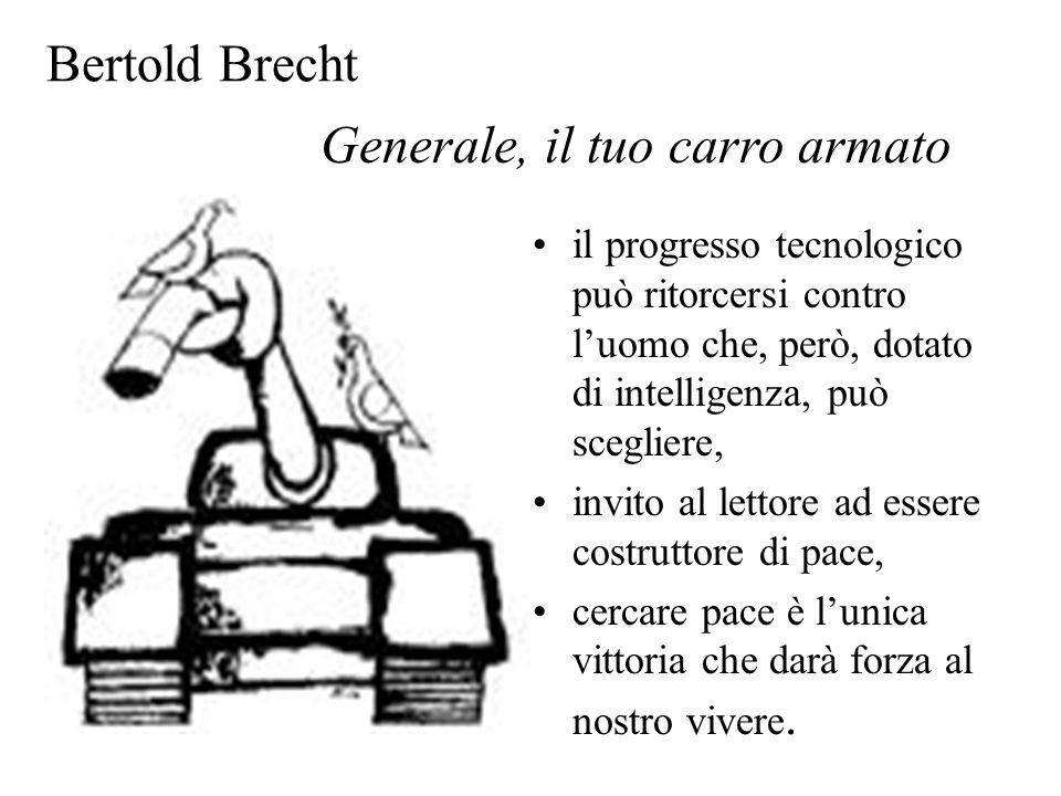 Bertold Brecht il progresso tecnologico può ritorcersi contro l'uomo che, però, dotato di intelligenza, può scegliere, invito al lettore ad essere cos