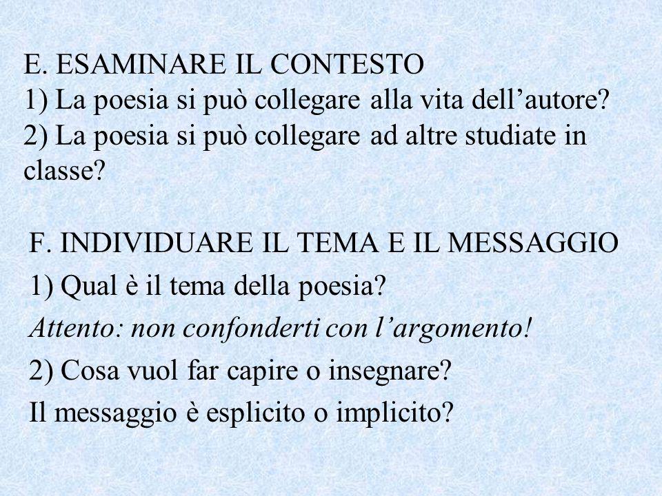 E. ESAMINARE IL CONTESTO 1) La poesia si può collegare alla vita dell'autore? 2) La poesia si può collegare ad altre studiate in classe? F. INDIVIDUAR