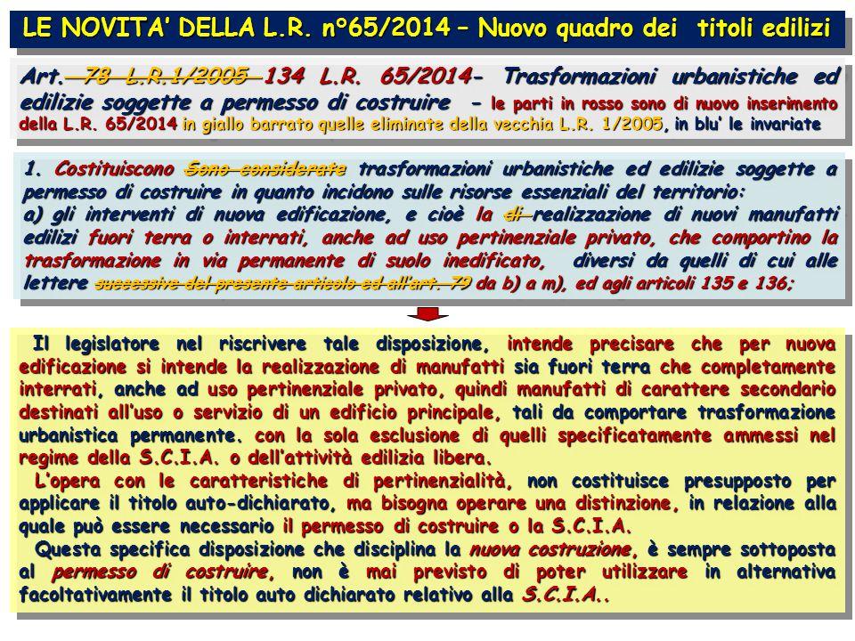 LE NOVITA' DELLA L.R. n°65/2014 – Nuovo quadro dei titoli edilizi Art.