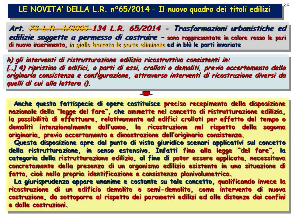 24 LE NOVITA' DELLA L.R. n°65/2014 – Il nuovo quadro dei titoli edilizi Art.