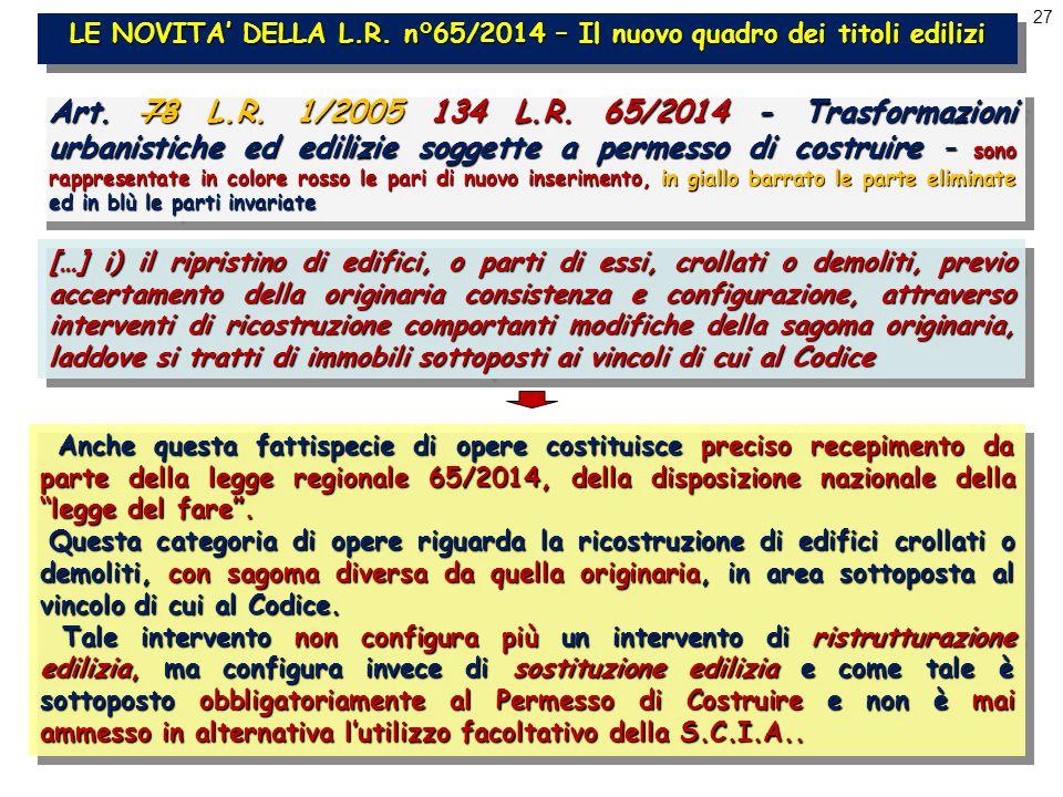 27 LE NOVITA' DELLA L.R. n°65/2014 – Il nuovo quadro dei titoli edilizi Art.