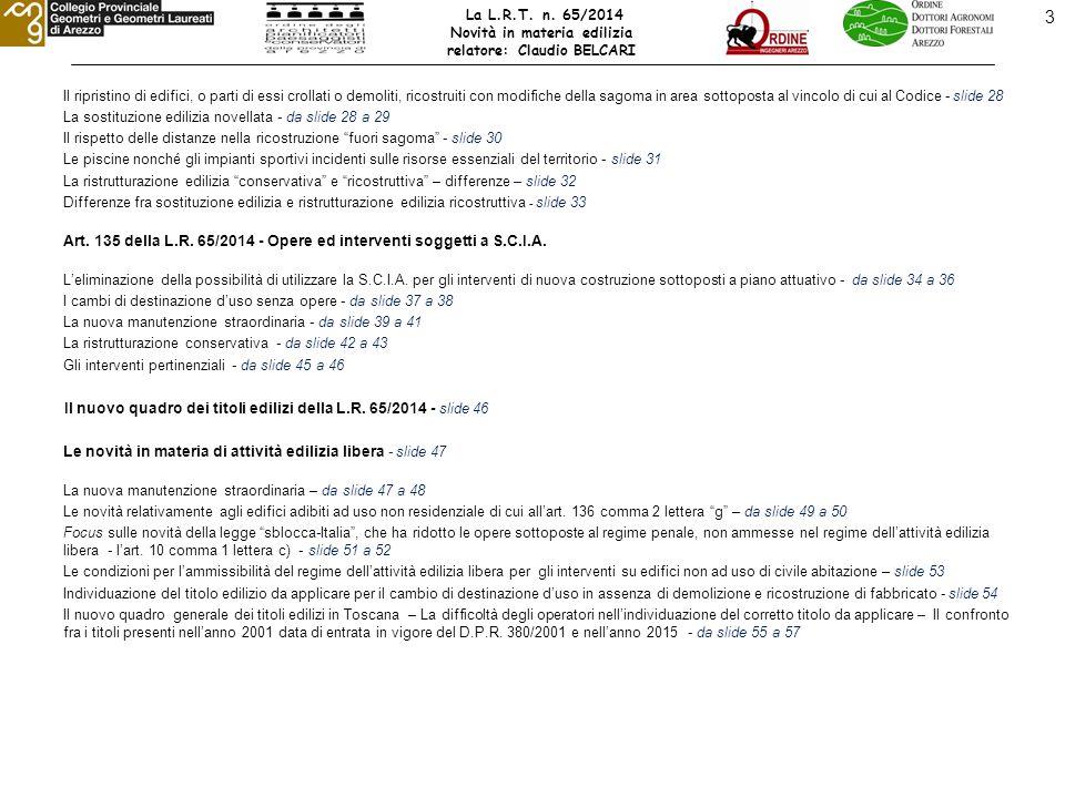 24 LE NOVITA' DELLA L.R.n°65/2014 – Il nuovo quadro dei titoli edilizi Art.