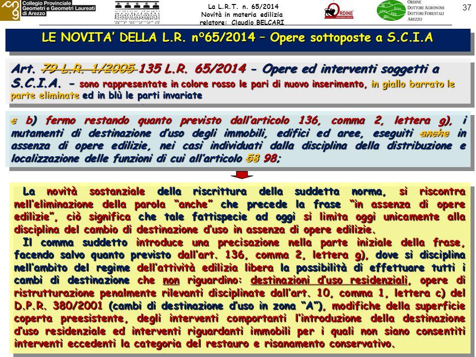 37 LE NOVITA' DELLA L.R. n°65/2014 – Opere sottoposte a S.C.I.A Art.