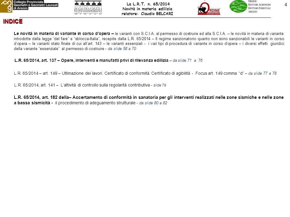 65 LE NOVITA' DELLA LEGGE URBANISTICA REGIONALE n° 65 del 10.11.2014 Art.