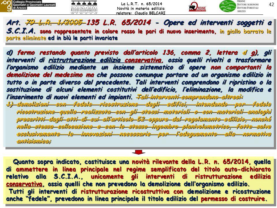 Art. 79 L.R. 1/2005 135 L.R. 65/2014 - Opere ed interventi soggetti a S.C.I.A.