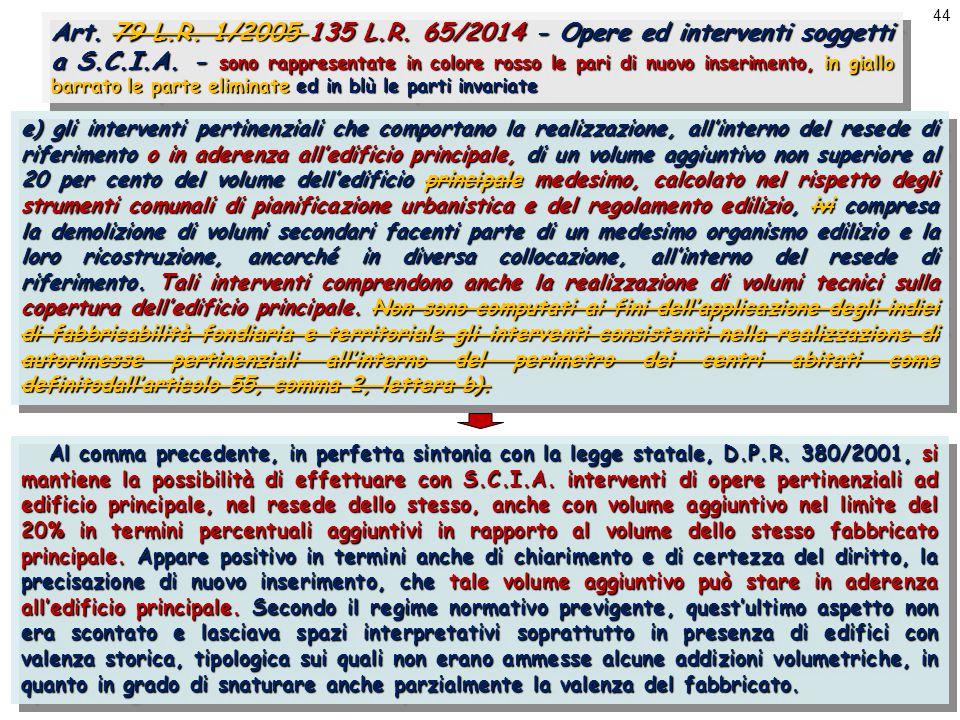 44 Art. 79 L.R. 1/2005 135 L.R. 65/2014 - Opere ed interventi soggetti a S.C.I.A.