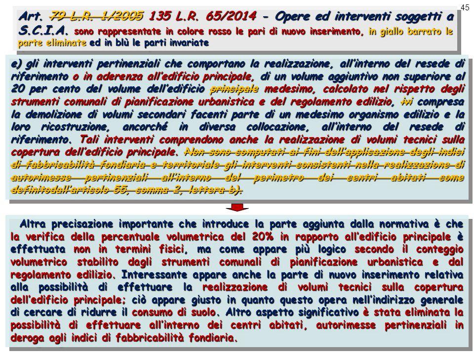 45 Art. 79 L.R. 1/2005 135 L.R. 65/2014 - Opere ed interventi soggetti a S.C.I.A.