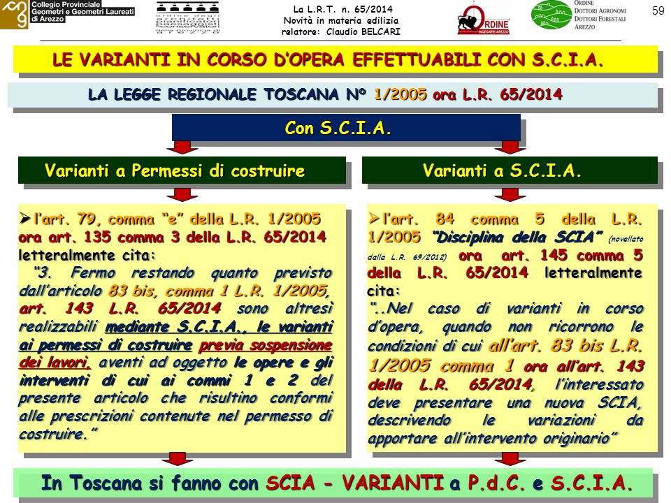 59 LE VARIANTI IN CORSO D'OPERA EFFETTUABILI CON S.C.I.A.