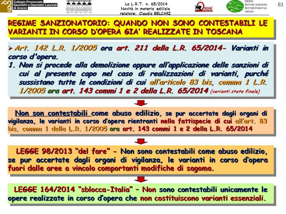 63 REGIME SANZIONATORIO: QUANDO NON SONO CONTESTABILI LE VARIANTI IN CORSO D'OPERA GIA' REALIZZATE IN TOSCANA  Art.