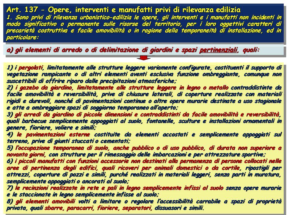 Art. 137 - Opere, interventi e manufatti privi di rilevanza edilizia 1.