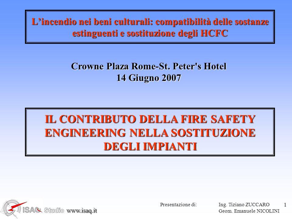 www.isaq.it 12 FIRE SAFETY ENGINEERING Analisi del rilascio termico (Heat Release Rate – HRR) Analisi produzione di fuliggine ( soot ) e prodotti di combustione (acidi, ecc.) Analisi dei tempi di intervento degli impianti di rilevazione/spegnimento STRUMENTO PER ANALIZZARE IL PROBLEMA ANTINCENDIO IN UNA VISIONE GLOBALE Reazione al fuoco dei materiali Response Time Index (R.T.I.) rilevatori, sprinkler, ecc.