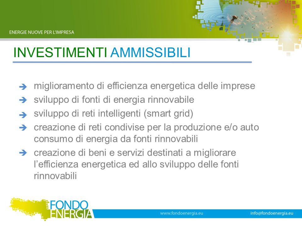 INVESTIMENTI AMMISSIBILI miglioramento di efficienza energetica delle imprese sviluppo di fonti di energia rinnovabile sviluppo di reti intelligenti (