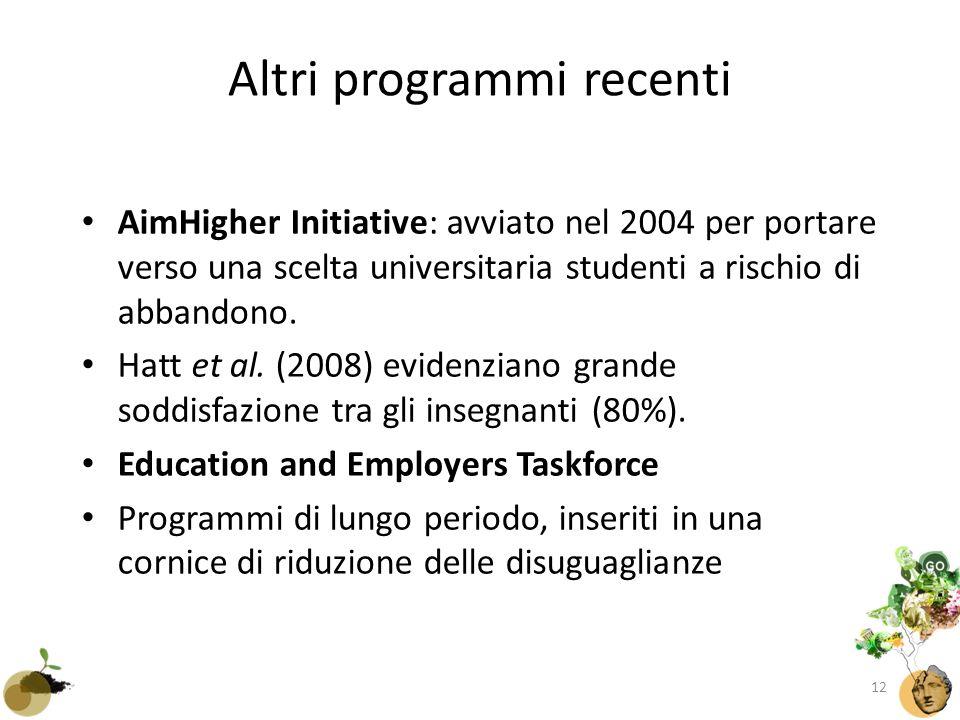 Altri programmi recenti AimHigher Initiative: avviato nel 2004 per portare verso una scelta universitaria studenti a rischio di abbandono.