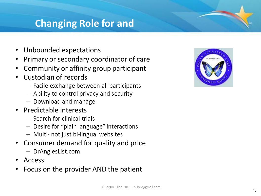 13 Changing Role for and Demands from Patients Unbounded expectations Primary or secondary coordinator of care Community or affinity group participant