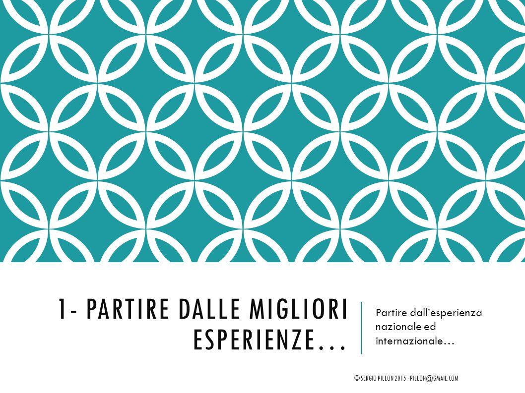 1- PARTIRE DALLE MIGLIORI ESPERIENZE… Partire dall'esperienza nazionale ed internazionale… © SERGIO PILLON 2015 - PILLON@GMAIL.COM