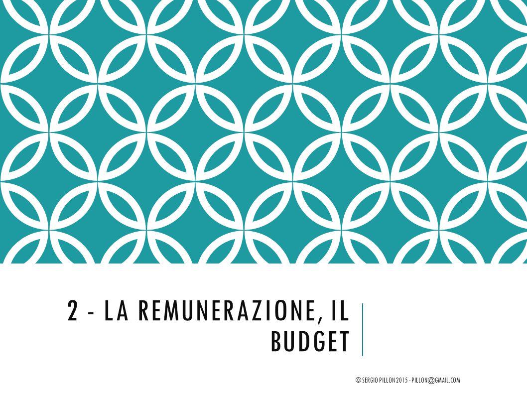 2 - LA REMUNERAZIONE, IL BUDGET © SERGIO PILLON 2015 - PILLON@GMAIL.COM