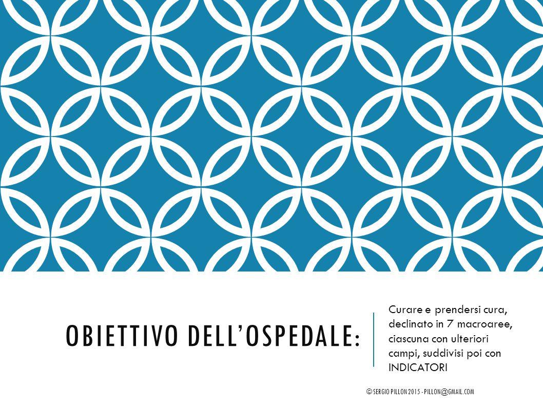 OBIETTIVO DELL'OSPEDALE: Curare e prendersi cura, declinato in 7 macroaree, ciascuna con ulteriori campi, suddivisi poi con INDICATORI © SERGIO PILLON