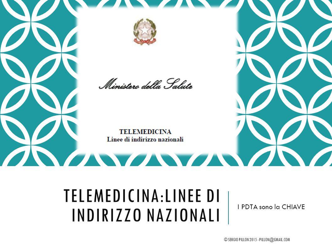 TELEMEDICINA:LINEE DI INDIRIZZO NAZIONALI I PDTA sono la CHIAVE © SERGIO PILLON 2015 - PILLON@GMAIL.COM