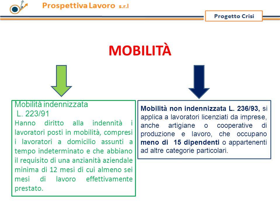 MOBILITÀ Mobilità indennizzata L.