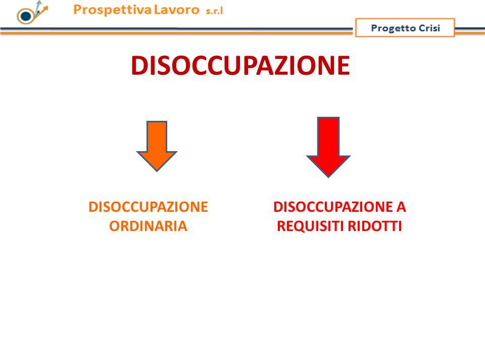 DISOCCUPAZIONE DISOCCUPAZIONE ORDINARIA DISOCCUPAZIONE A REQUISITI RIDOTTI