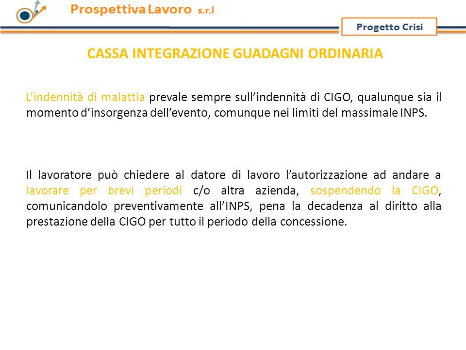 L'indennità di malattia prevale sempre sull'indennità di CIGO, qualunque sia il momento d'insorgenza dell'evento, comunque nei limiti del massimale INPS.