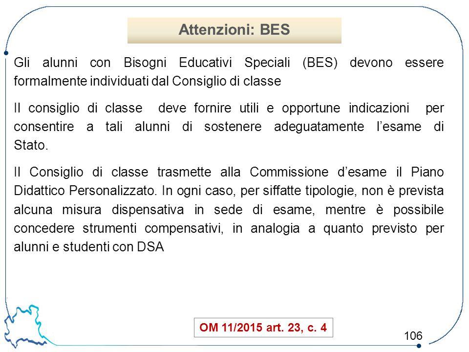 106 Gli alunni con Bisogni Educativi Speciali (BES) devono essere formalmente individuati dal Consiglio di classe Il consiglio di classe deve fornire